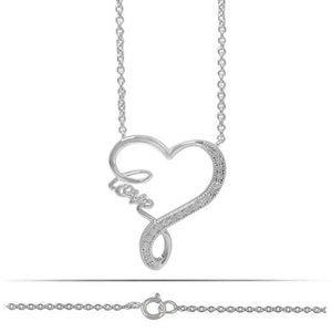 Necklace Pendant Sterling Silver 925-CZ Heart Love
